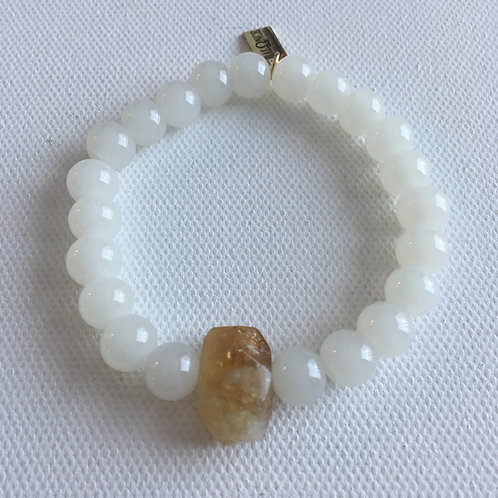 White Jade & Citrine Bracelet
