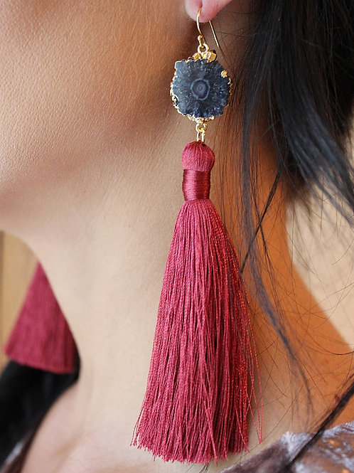 Rustic Red & Black Solar Quartz Tassel Earring