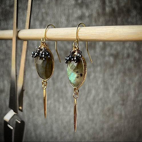 Labradorite & Pyrite Dangle Earrings