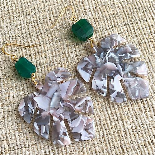 Green Onyx & Resin Earrings