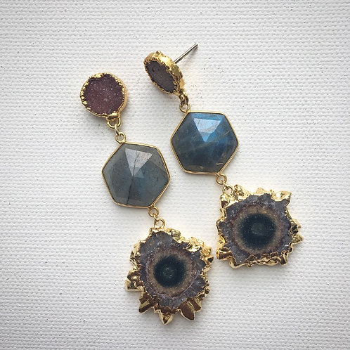 Druzy Quartz, Labradorite & Amethyst Stalactite Earrings