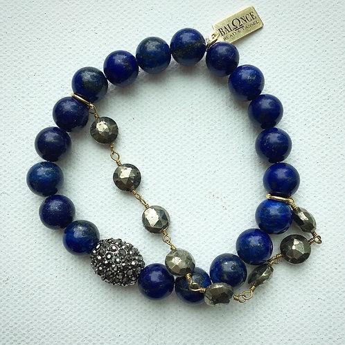 Lapis Lazuli & Pyrite Stretch Bracelet