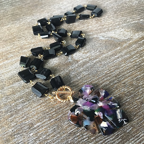 Black Onyx Tropical Statement Necklace