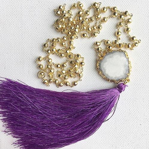 Golden Pyrite & Purple Tassel Necklace
