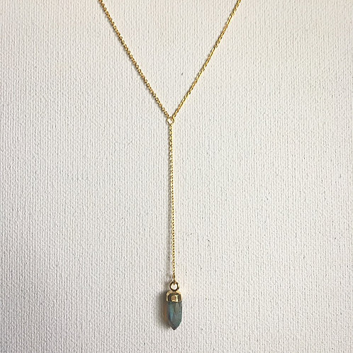 Classy Labradorite Spike Lariat Necklace