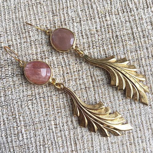 Peach Moonstone Deco Earrings