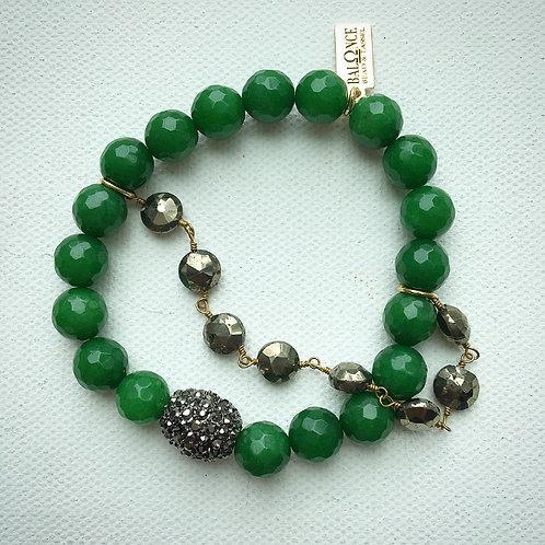 Jade & Pyrite Stretch Bracelet
