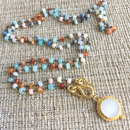 Fire Opal & Pearl Signature Wrap Necklace