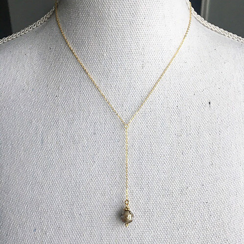 Vermeil & Mantra Om Pearl Lariat Necklace