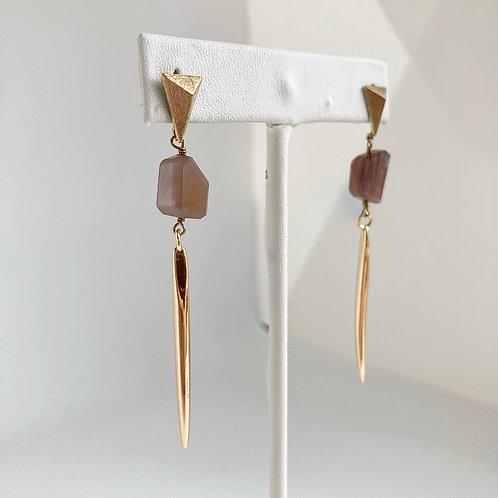 Chocolate Moonstone Spike Earrings