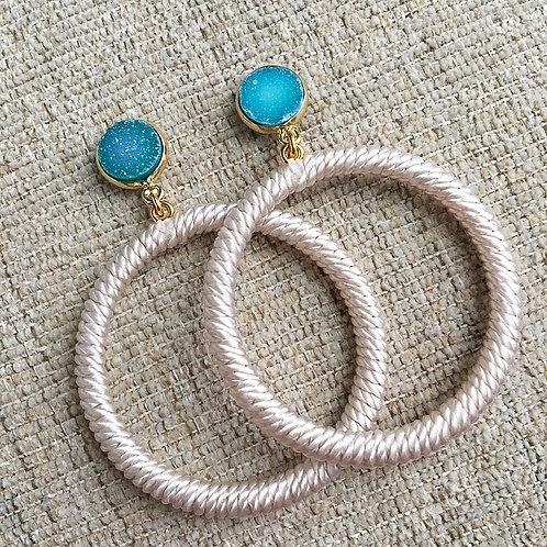 Turquoise & Cream Hoops