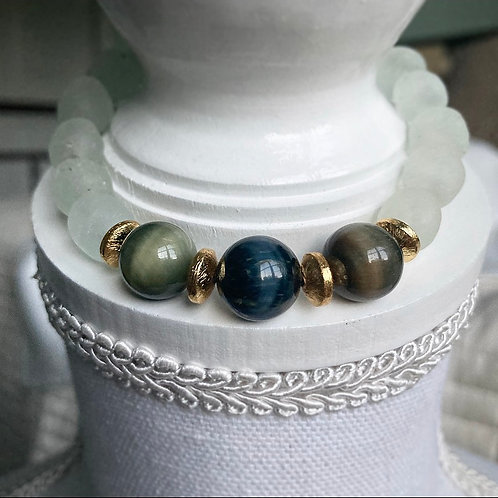 Cats Eye & Sea Glass Bracelet