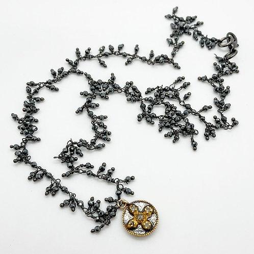 Pyrite and Petite Diamond Cross Necklace
