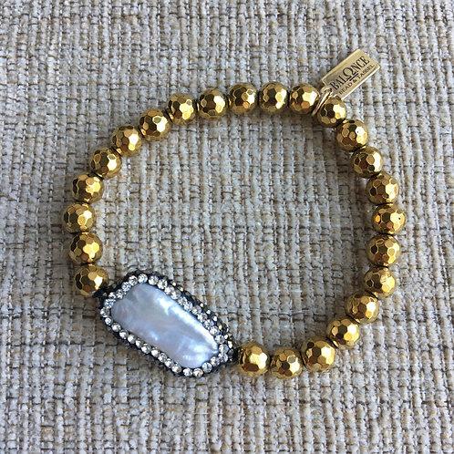 Golden Pyrite & Pearl Bracelet