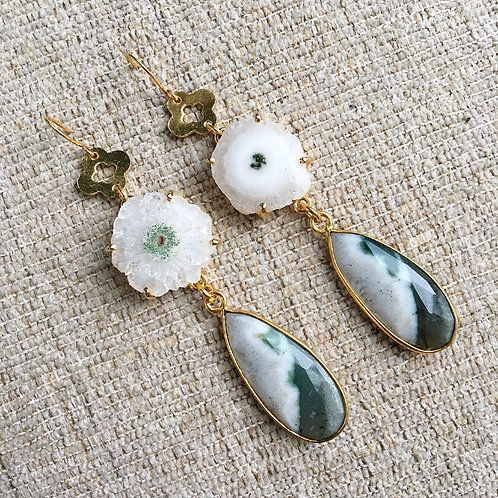 Solar Quartz & Moss Agate Clover Earrings