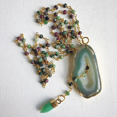 Ruby Zoisite & Agate Adjustable Lariat Necklace