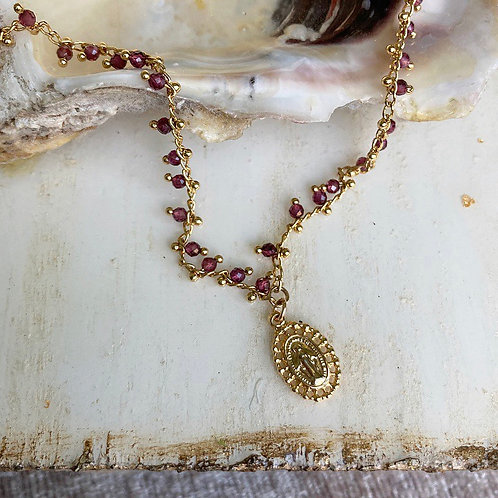 Garnet Miraculous Mary Necklace