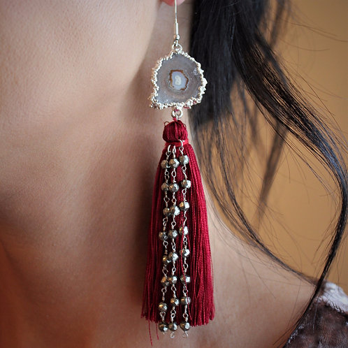 Silver Stalactite & Pyrite Tassel Earrings