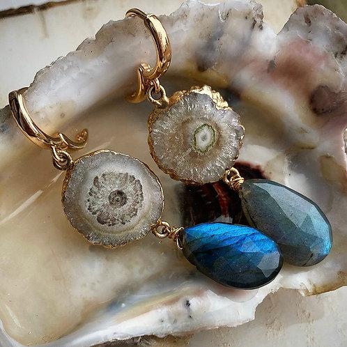 Solar Quartz & Labradorite Huggie Earrings