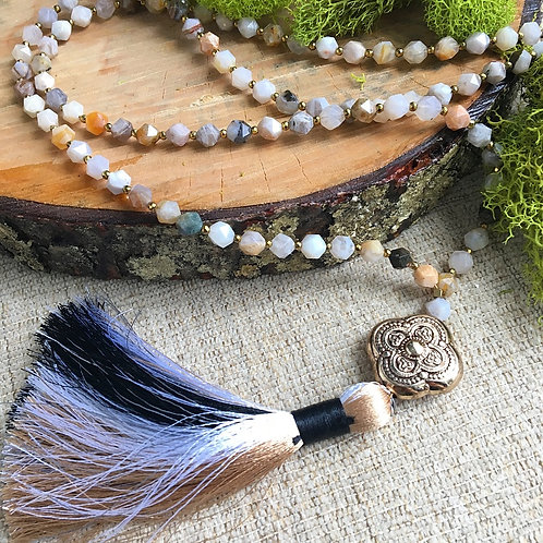 Bamboo Agate Tassel Necklace