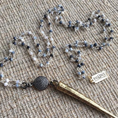 Dendrite Opal & Diamond Spike Necklace