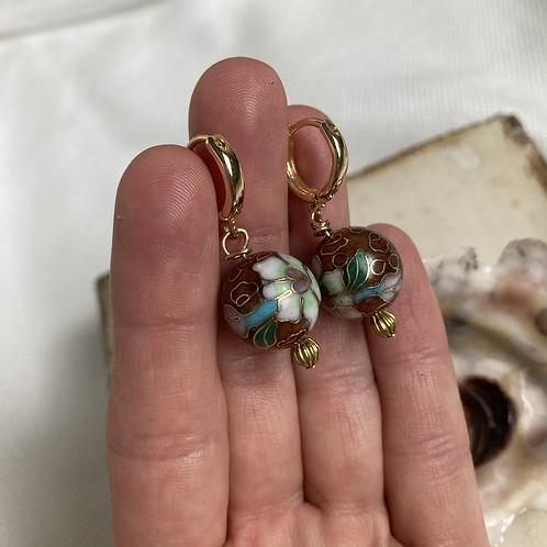 Vintage Cloisonnè Huggie Earrings