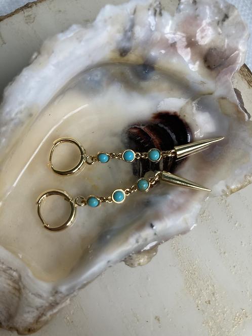 Turquoise Studded Spike Huggie Earrings