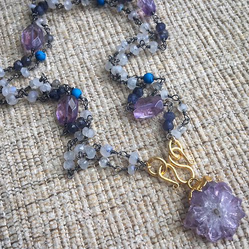 Signature Double Chain Necklace in Moonstone, Labradorite, Turquoise & Amethyst
