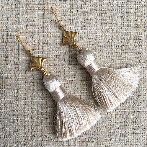 Beige Nola Tassel Earrings