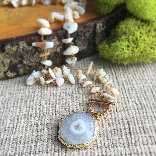 African Opal & Solar Quartz Toggle Necklace