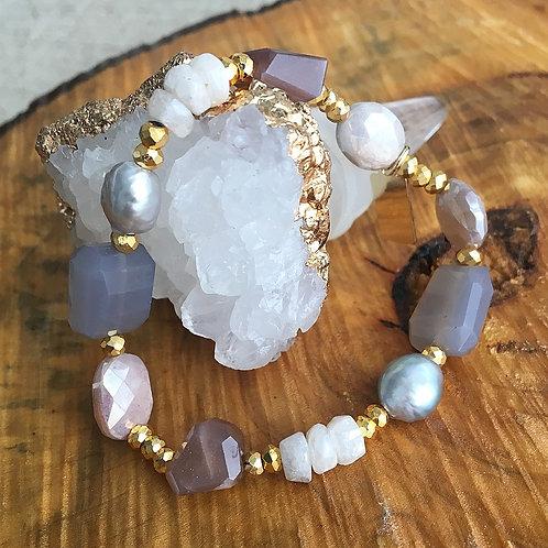 Mixed Gems & Freshwater Pearl Bracelet