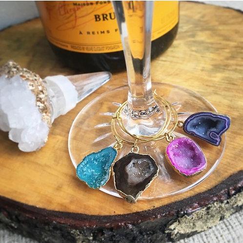 Gold Geode Wine Charm Set