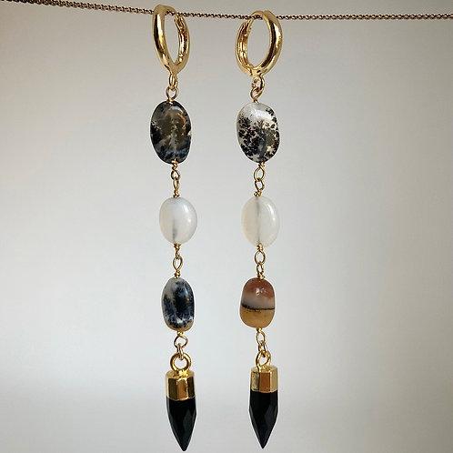 Dendrite Opal Spike Earrings