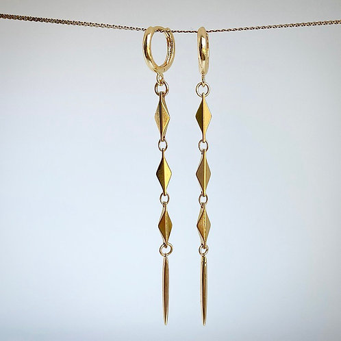 Golden Diamond Spike Earrings