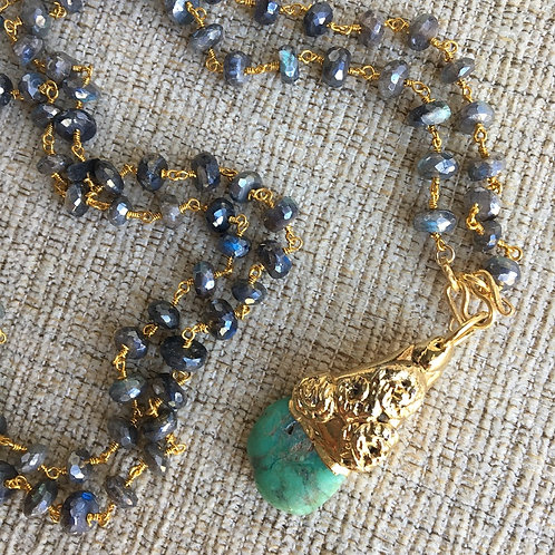 Signature Necklace in Mystic Labradorite & Chrysocolla