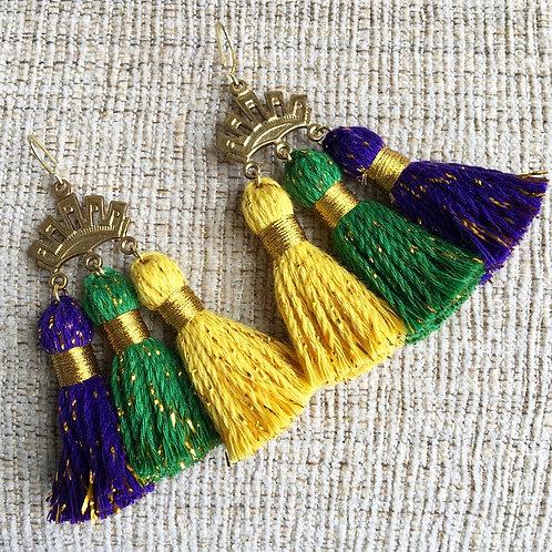 Sparkle Triple Crown Tassel Earrings