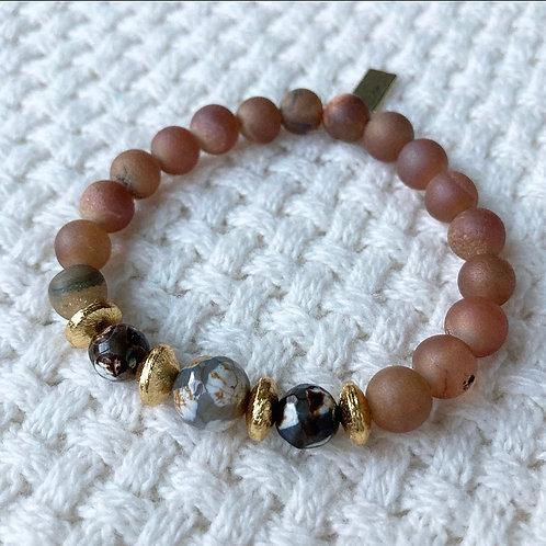 Druzy & Turtleback Agate Bracelet