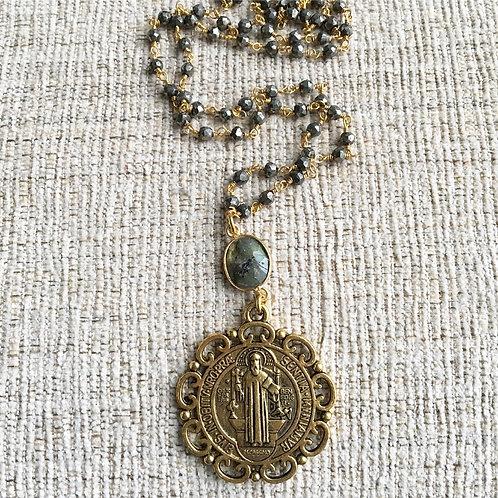 Pyrite & Labradorite St. Benedict Necklace