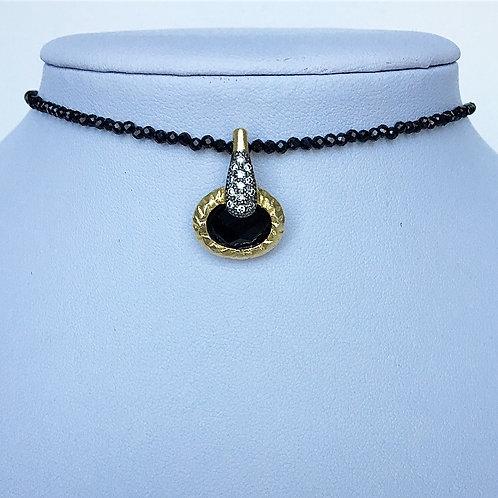 Dainty Black Spinel Bezel Drop Necklace