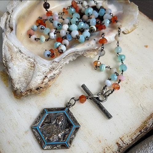 Vintage Saint Teresa Opal Necklace
