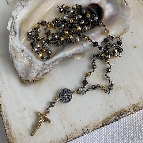 Multi Pyrite Saint Benedict & Crucifix Necklace