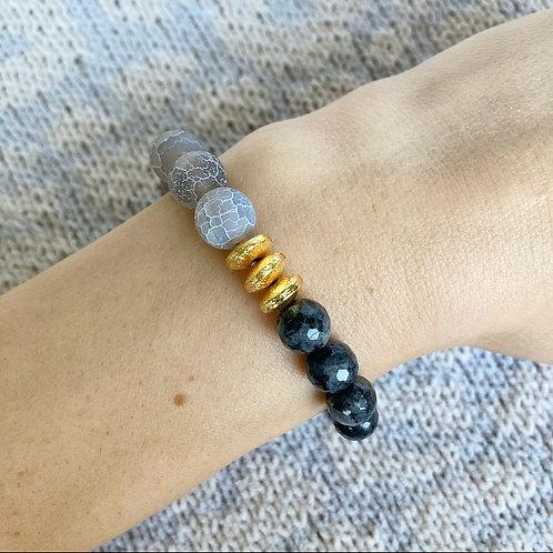 Gray Agate & Labradorite Bracelet