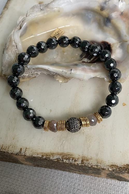 Diamond, Hematite & Mystic Moonstone Bracelet