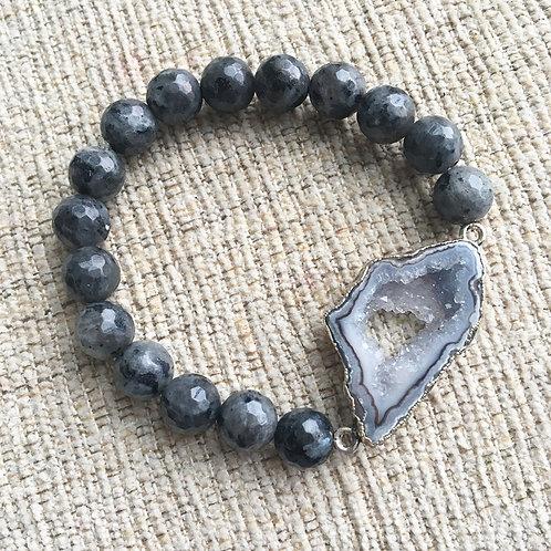 Mystic Labradorite & Agate Slice  Bracelet