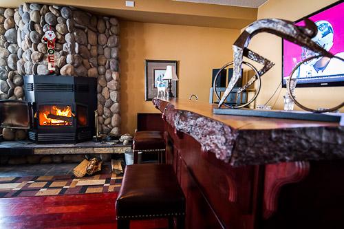 Custom Bar With Live Wood Edge