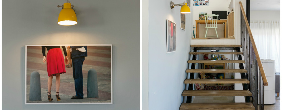 מדרגות מיוחדות, צבע, פריטי יצירה של בני המשפחה ומעקה ייחודי , תאורה צבעונית -מעטרים את החלל כולו.