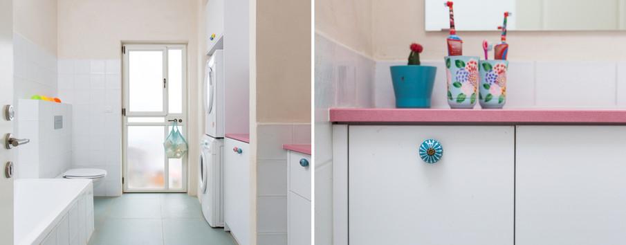 חדר אמבטיה ילדים- משטח ורוד...
