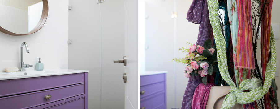 גם לחדר באמבטיה נבחר צבע הסגול