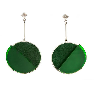 London Earrings Round Leather Silver - S