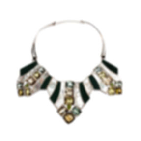 Art Deco Necklace Gems and Sterling Silv